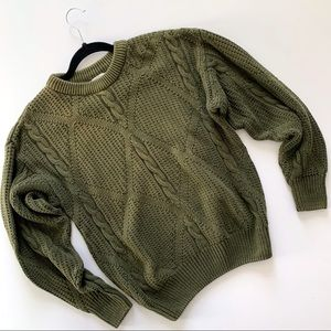 Vintage Van Heusen 417 Olive Cable Knit Sweater